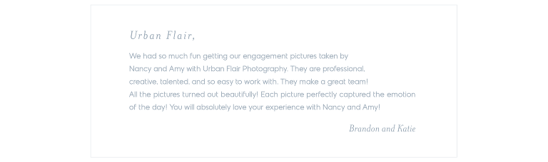 Urban Flair Testimonial - Brandon and Katie